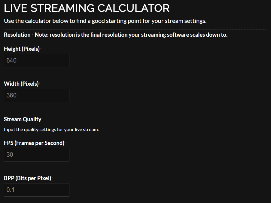 Live Streaming Calculator for Twitch & YouTube Live | Chow