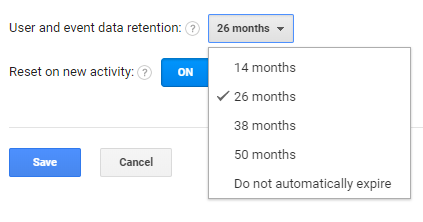 Google Analytics Data Retention Dropdown
