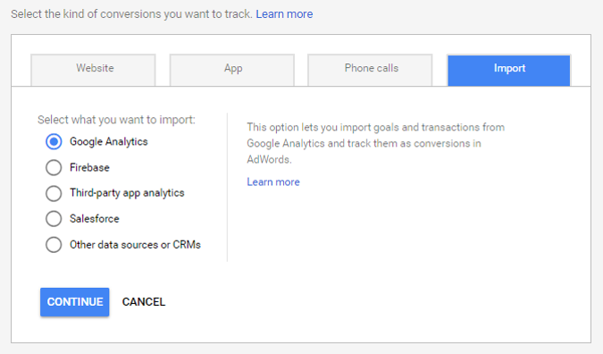 Import Google Analytics Goals as Conversion in AdWords