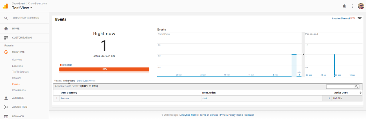 Real-Time Events Report in Google Analytics